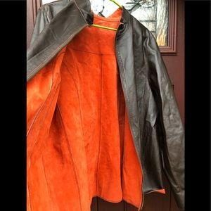 Vtg Reversible Suede Leather Jacket Men's Orange L